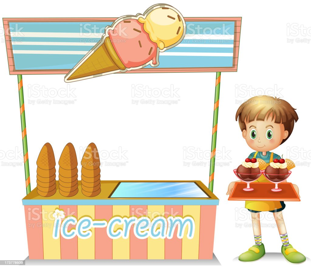 boy with a tray beside an ice cream cart royalty-free stock vector art