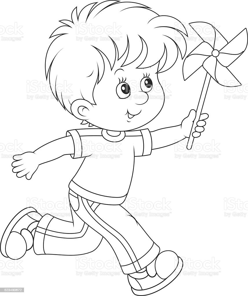Boy with a whirligig vector art illustration