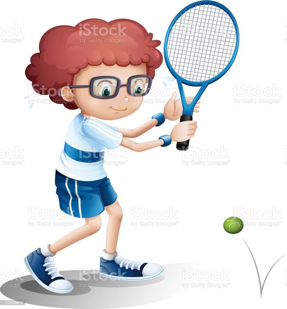 Boy with an eyeglass playing tennis royalty-free stock vector art