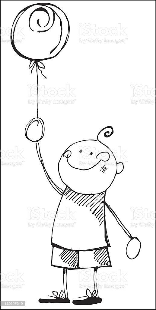 Boy with ballon royalty-free stock vector art