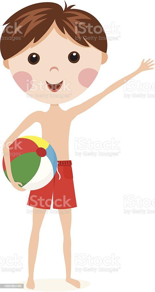 Boy with beach ball royalty-free stock vector art