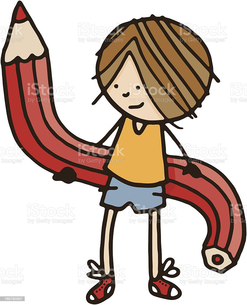 Boy with bendy pencil royalty-free stock vector art