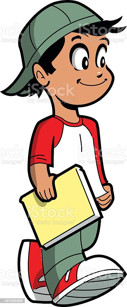 Boy With Book vector art illustration