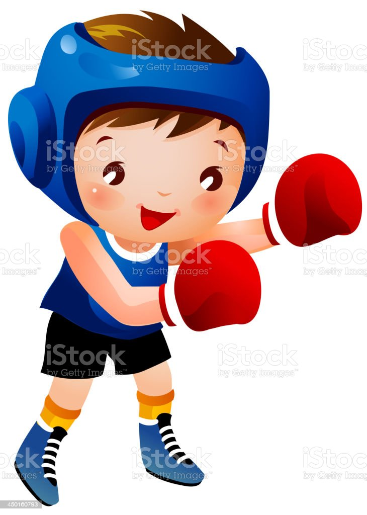 Boy with boxing glove royalty-free stock vector art