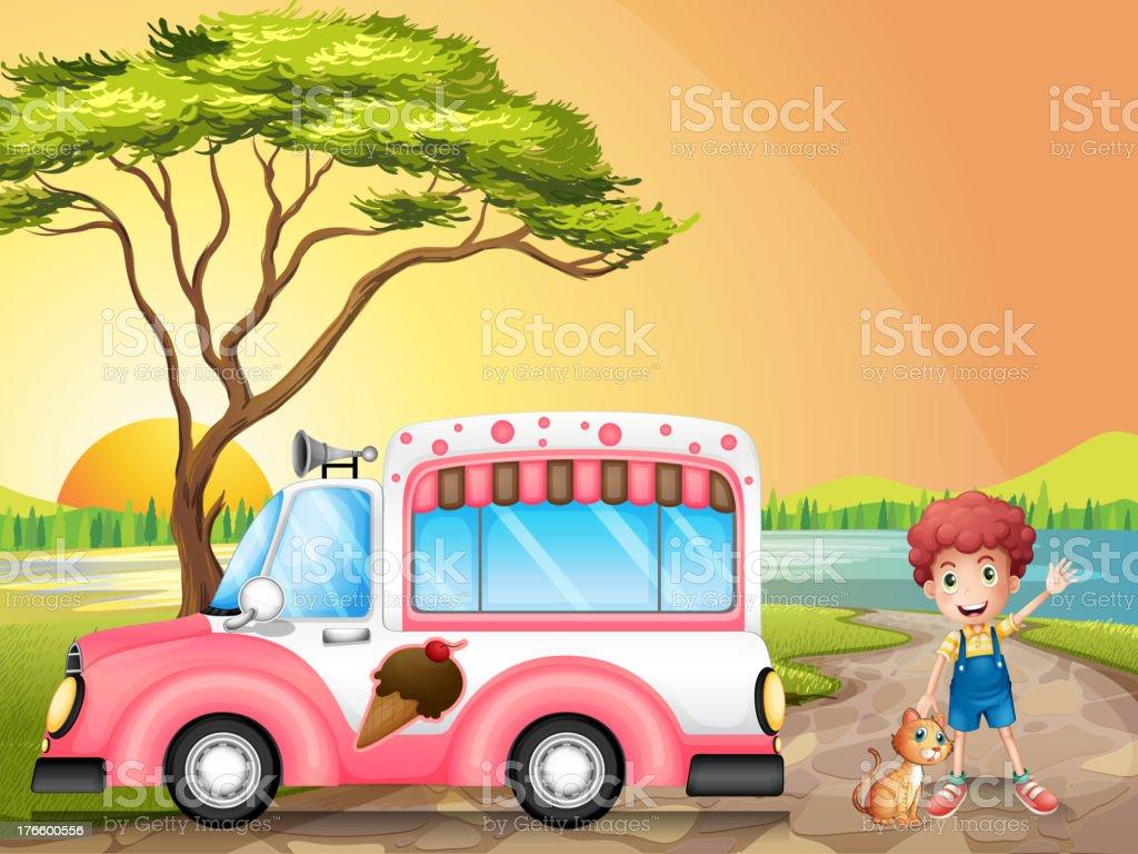 Boy with cat beside an icecream truck royalty-free stock vector art
