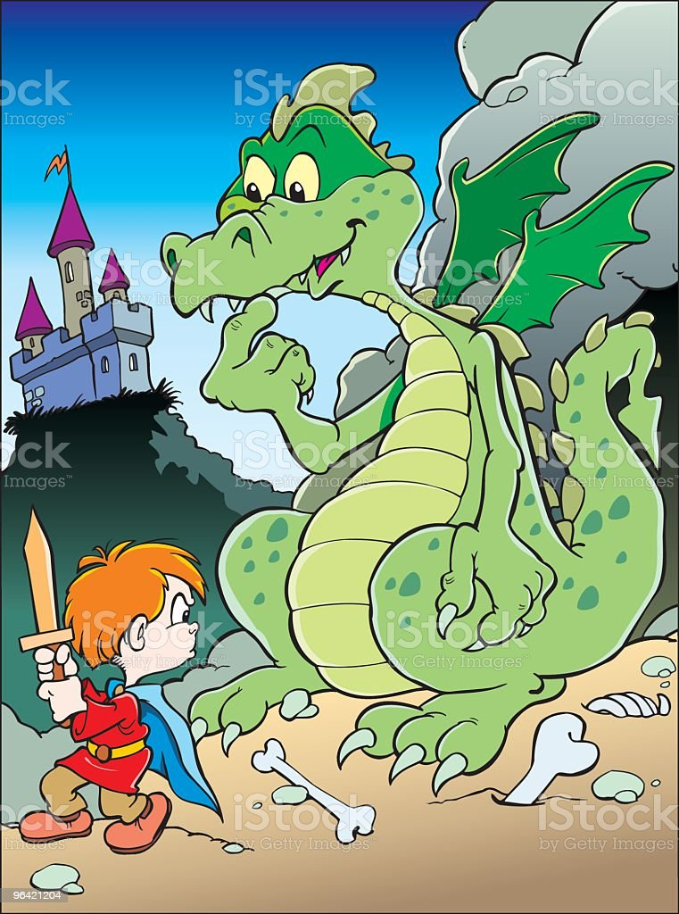 Boy with dragon royalty-free stock vector art
