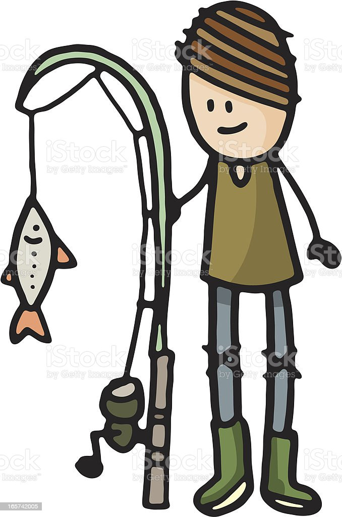 Boy with fishing rod and fish royalty-free stock vector art