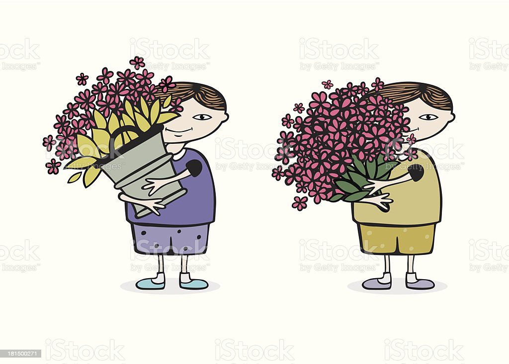 boy with flowers royalty-free stock vector art