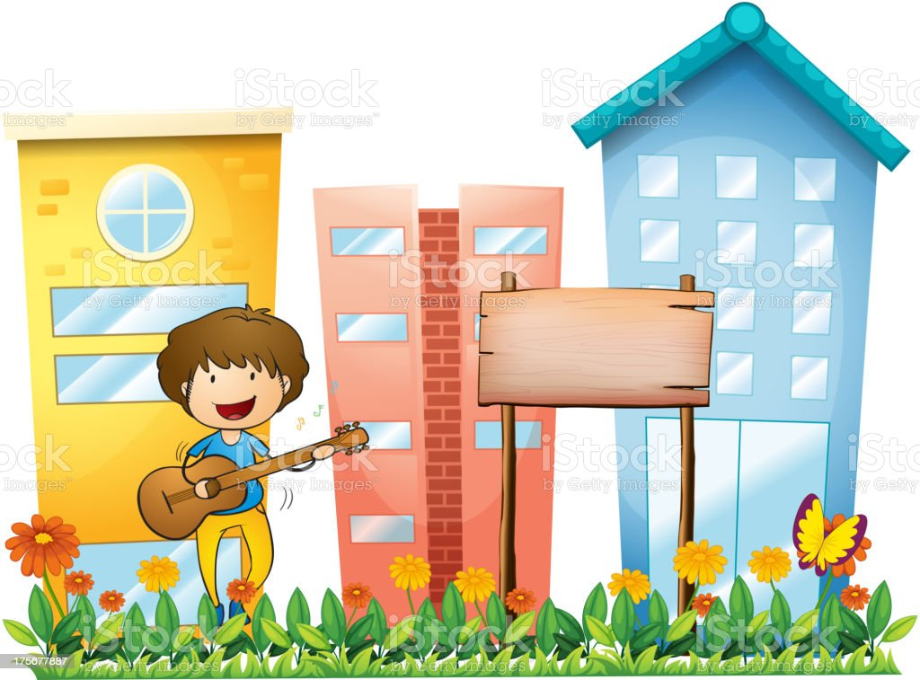 Boy with guitar beside an empty wooden signboard royalty-free stock vector art