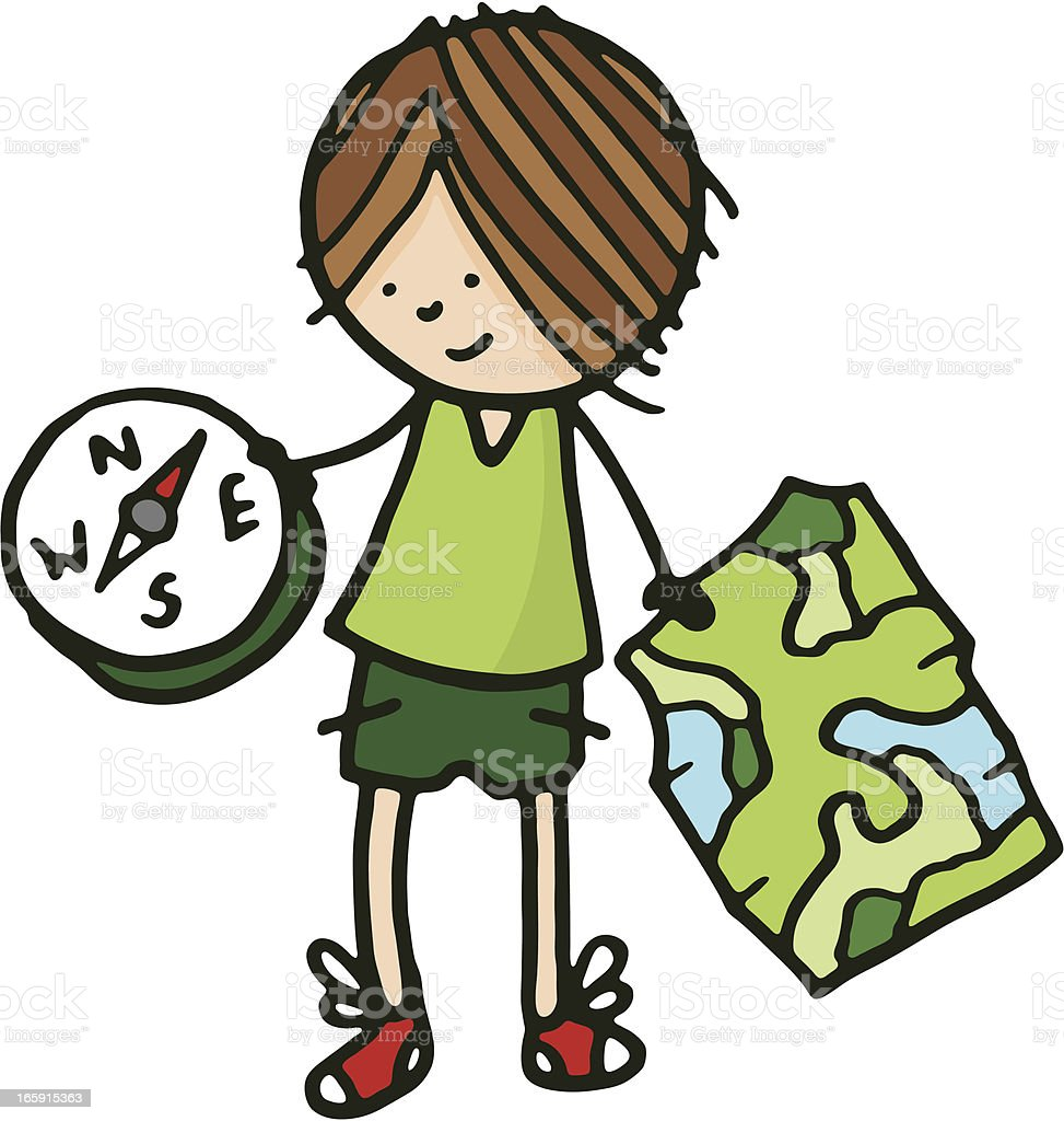 Boy with map and compass vector art illustration