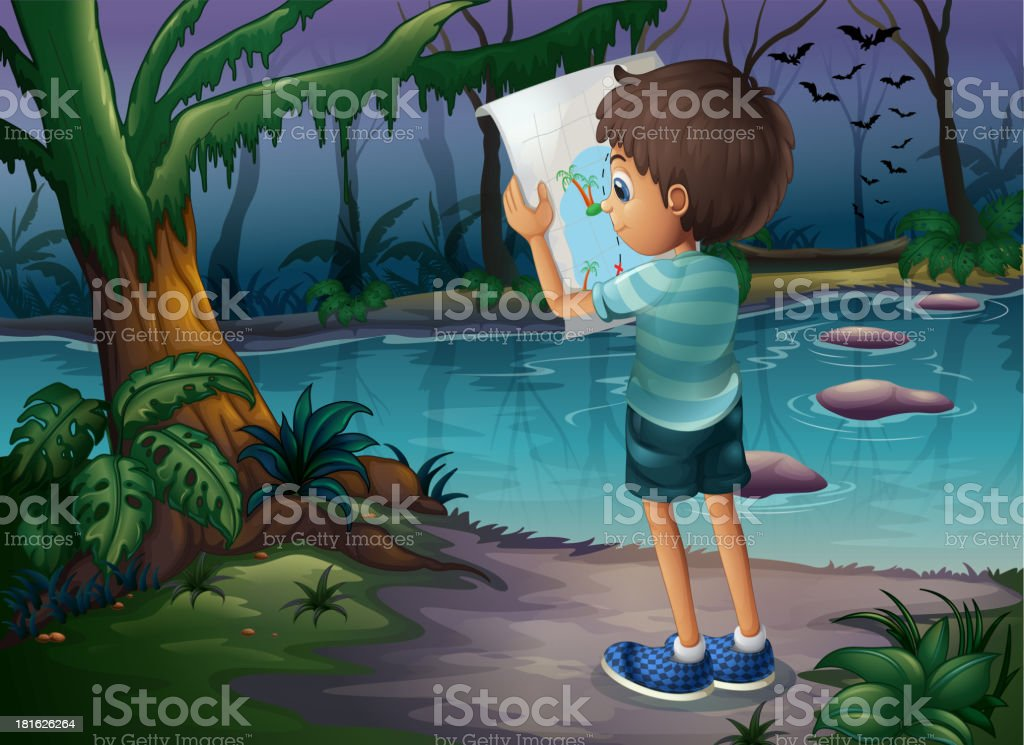 boy with map standing in middle of the forest vector art illustration