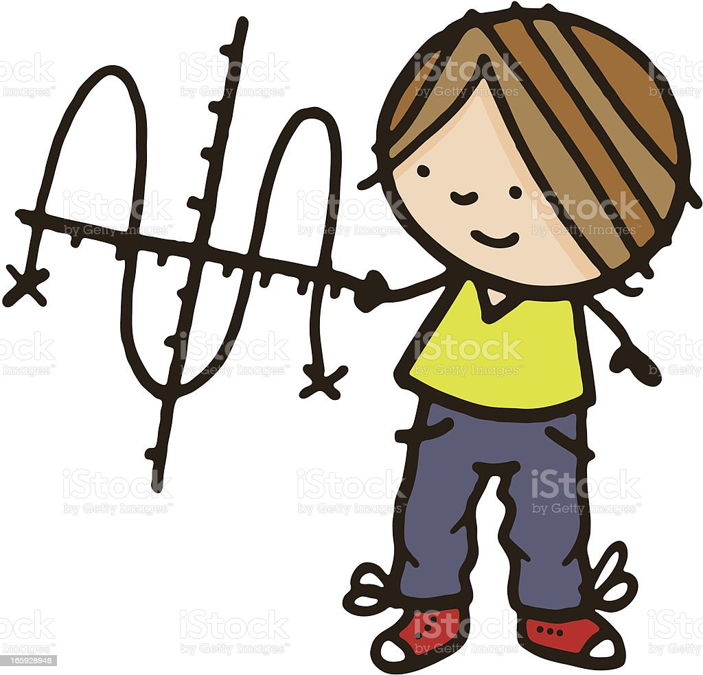 Boy with mathematical graph royalty-free stock vector art