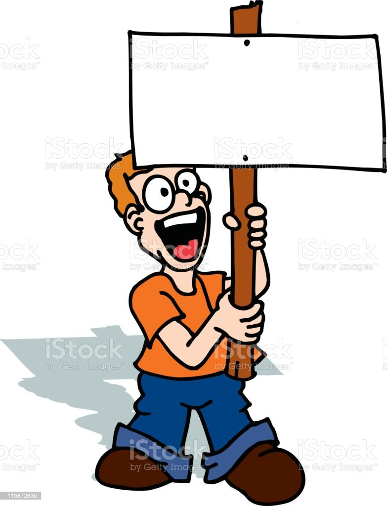 Boy with Picket Sign royalty-free stock vector art