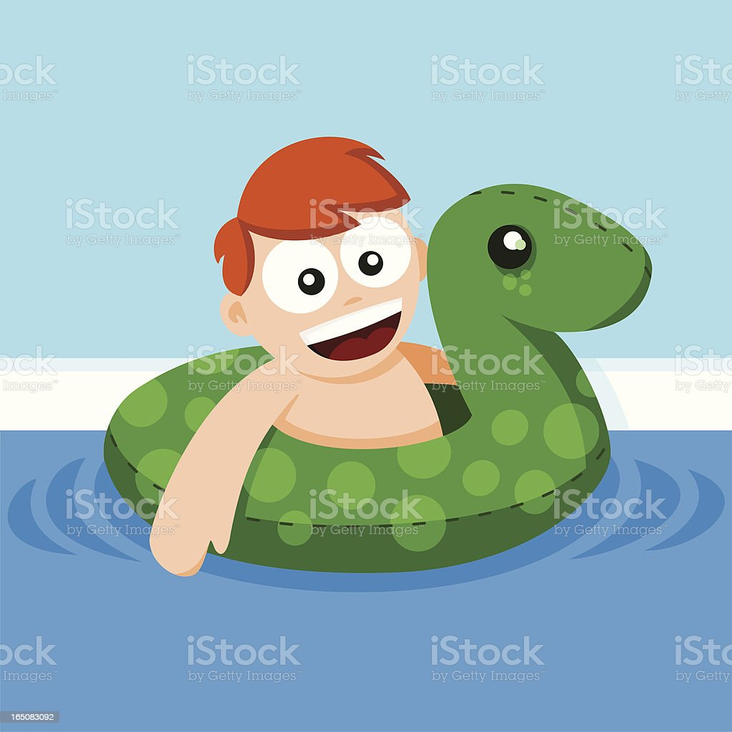 Boy with Pool Toy vector art illustration