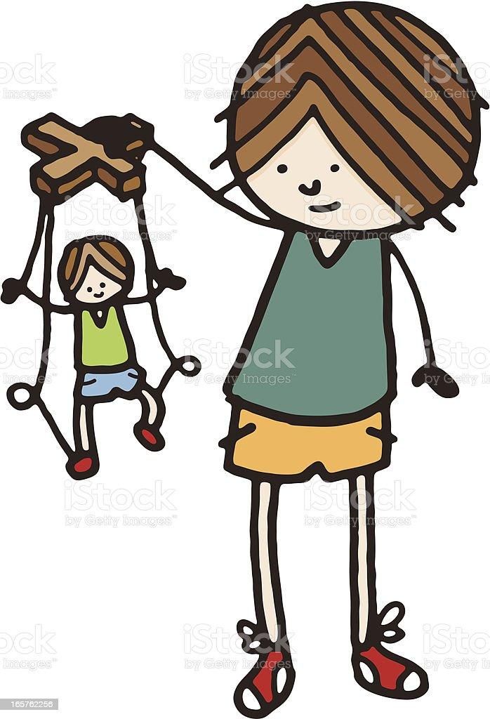 Boy with puppet vector art illustration
