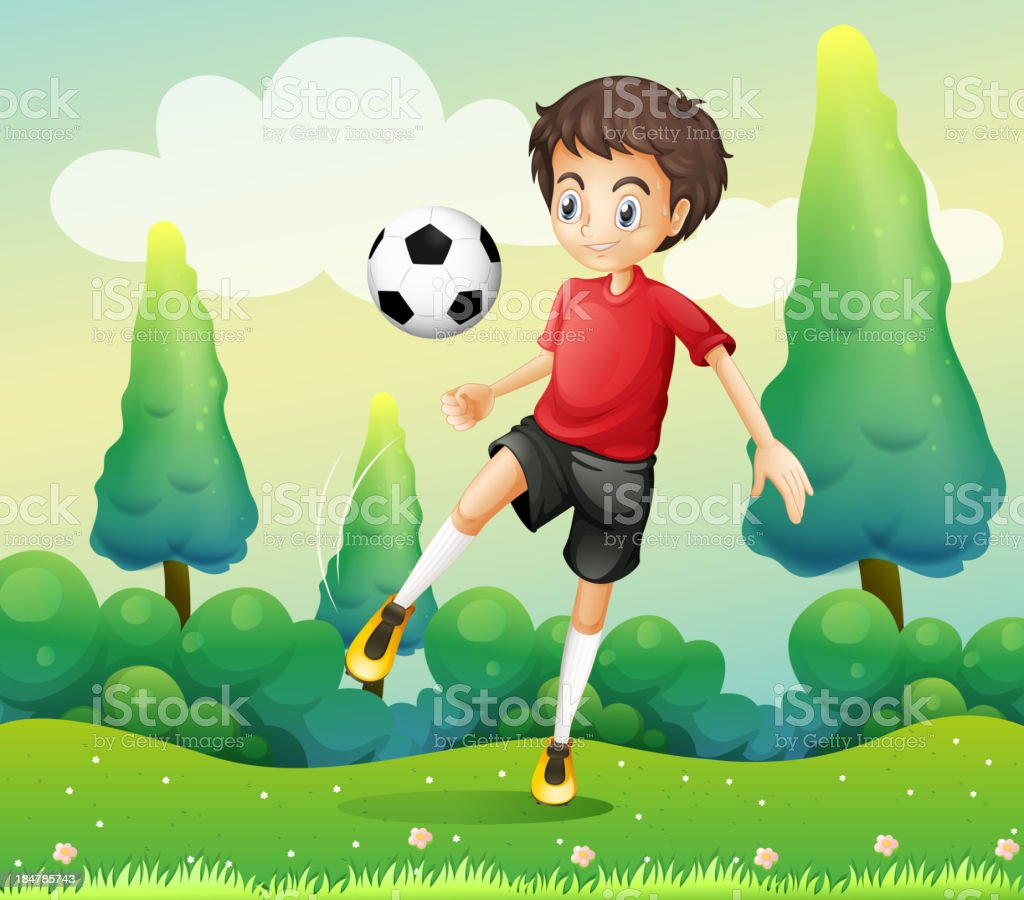 boy with red shirt kicking soccer ball royalty-free stock vector art