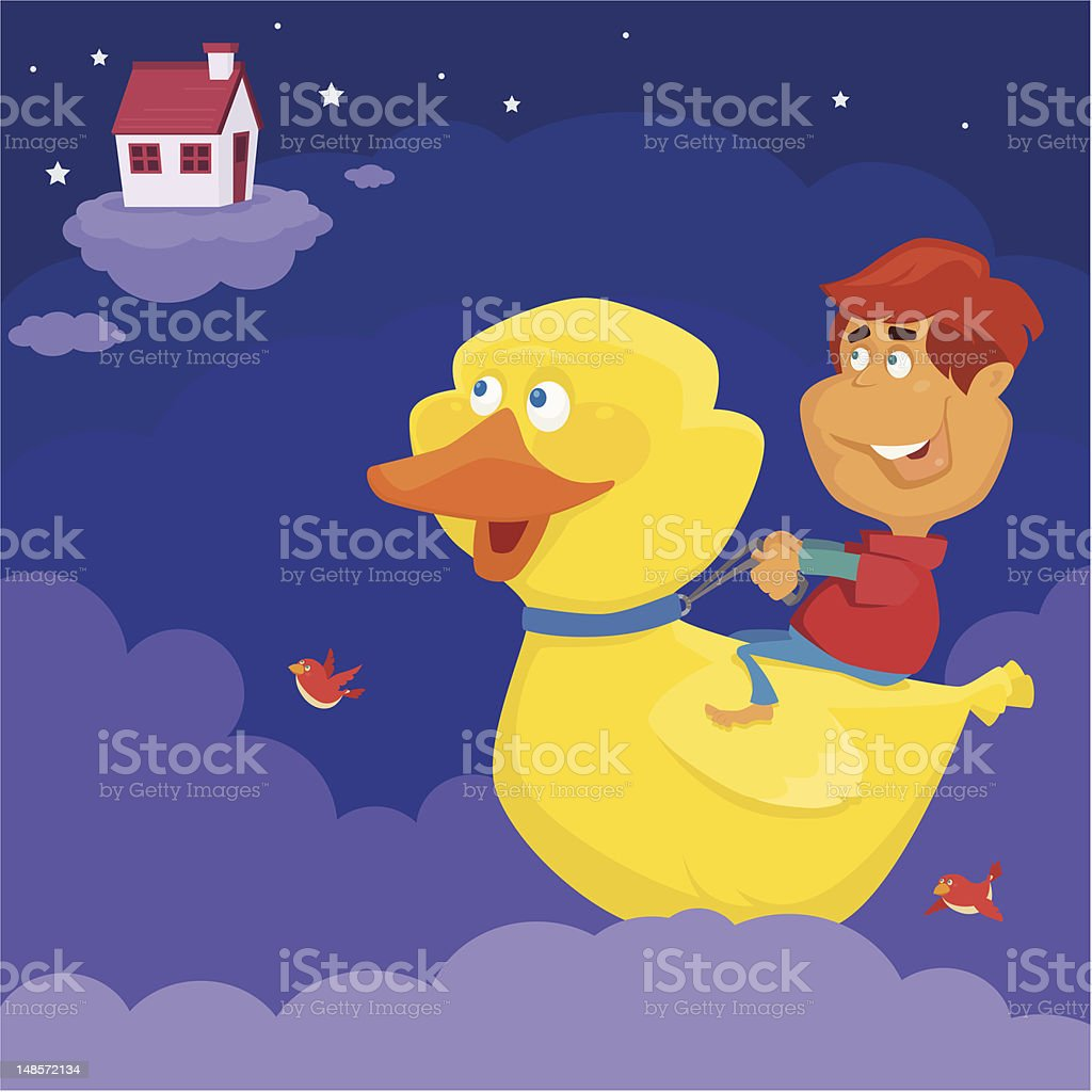 boy with rubber duck royalty-free stock vector art
