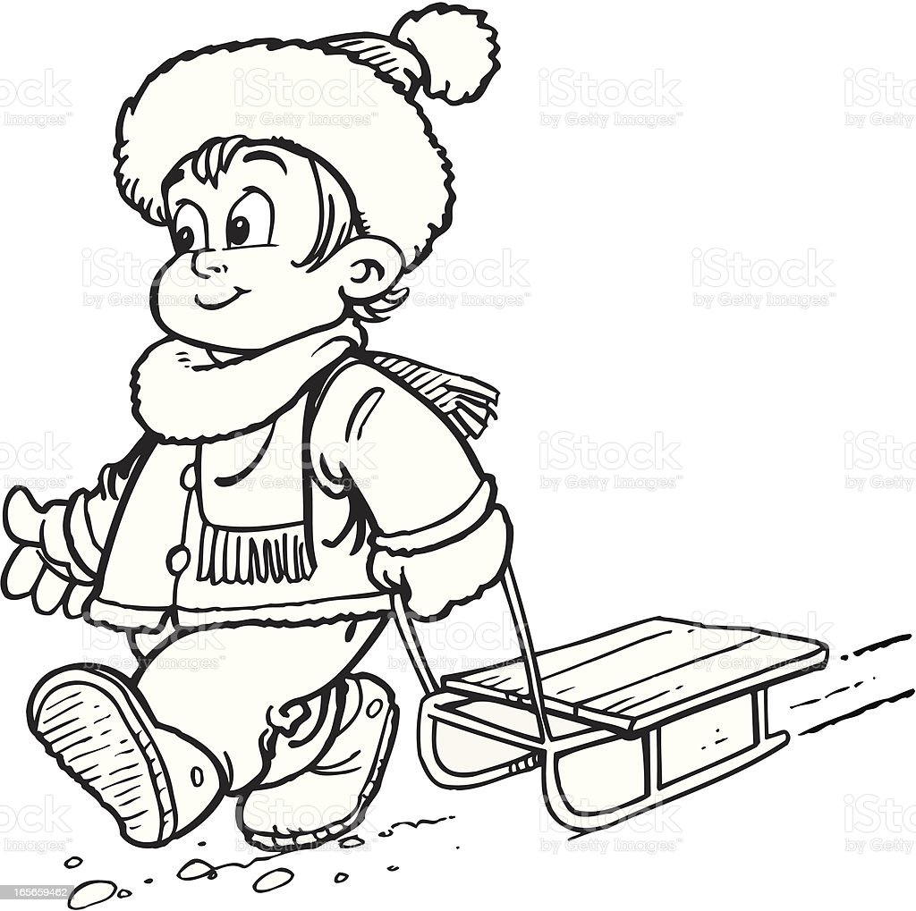 Boy with sledge royalty-free stock vector art