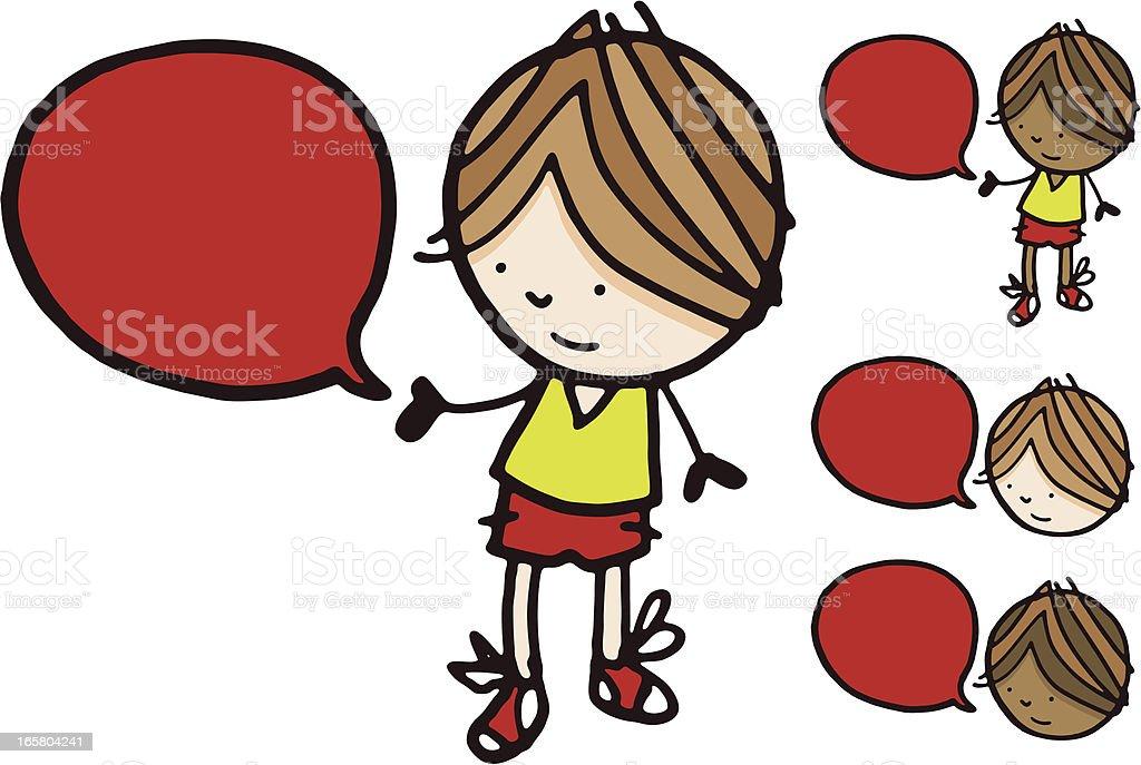 Boy with speech bubble vector art illustration