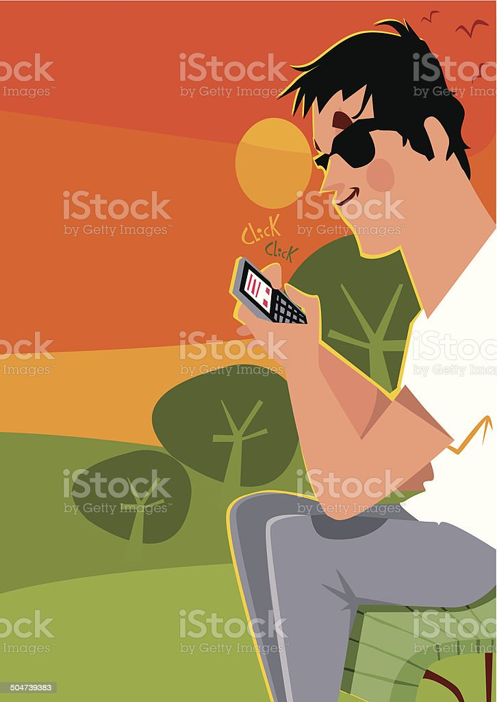 Boy with sunglasses sending a message to sunset royalty-free stock vector art