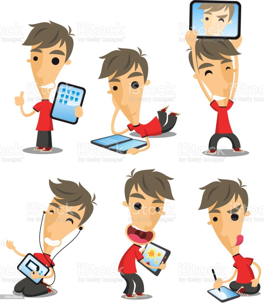Boy with tablet vector art illustration