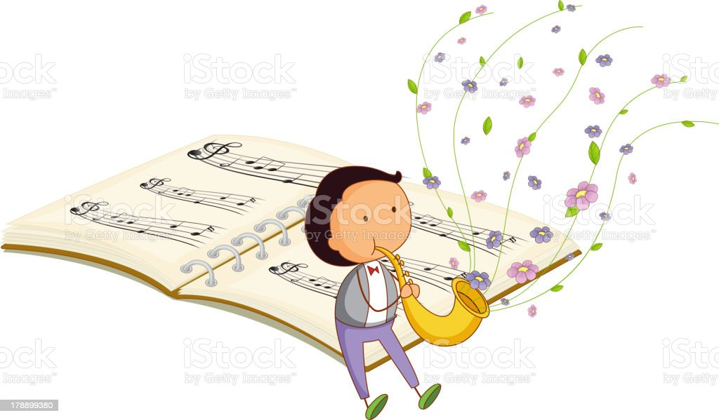 boy with trumpet and a music book at the back royalty-free stock vector art