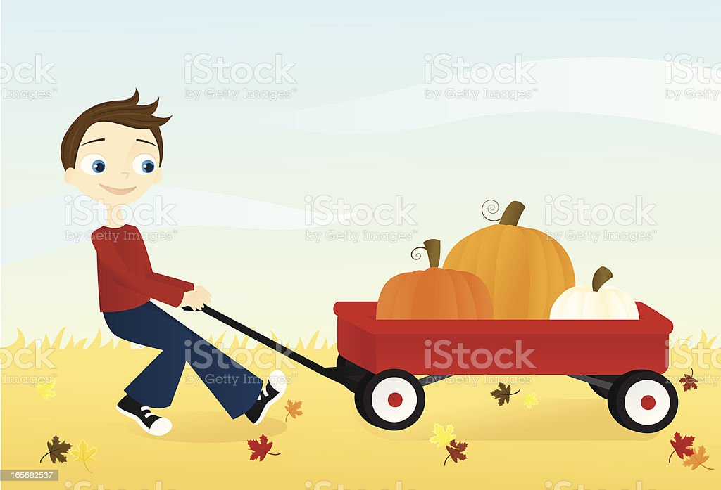 Boy with Wagon vector art illustration