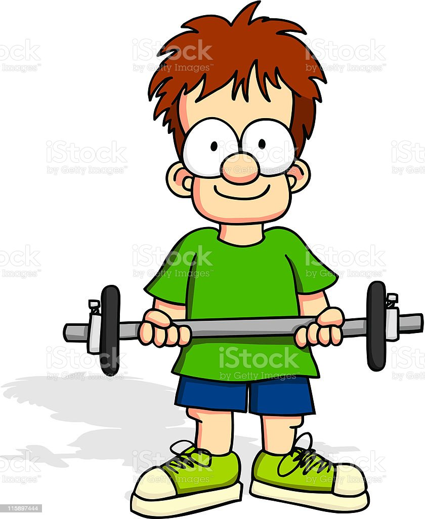 Boy with Weights vector art illustration