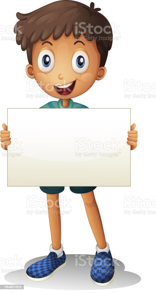 Boy with white paper royalty-free stock vector art