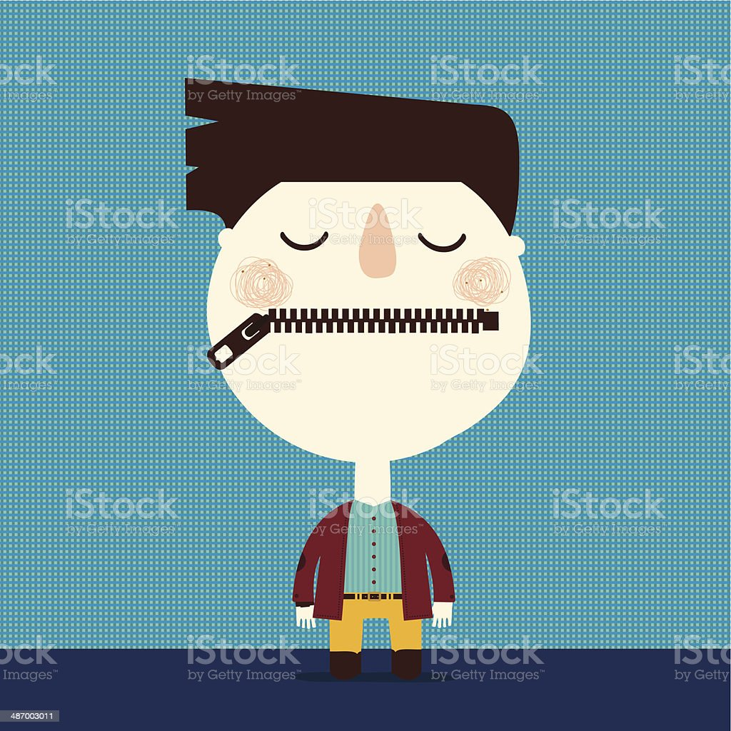 boy with zipper mouth vector art illustration