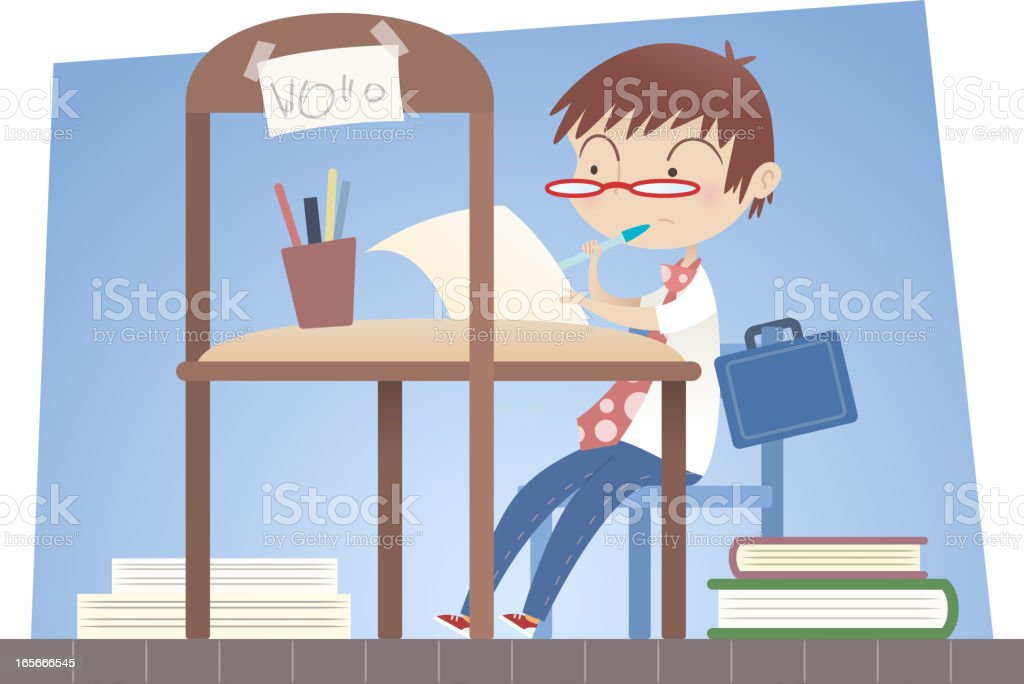 Boy working in his office royalty-free stock vector art