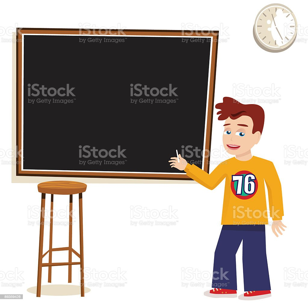Boy writing on a blackboard royalty-free stock vector art