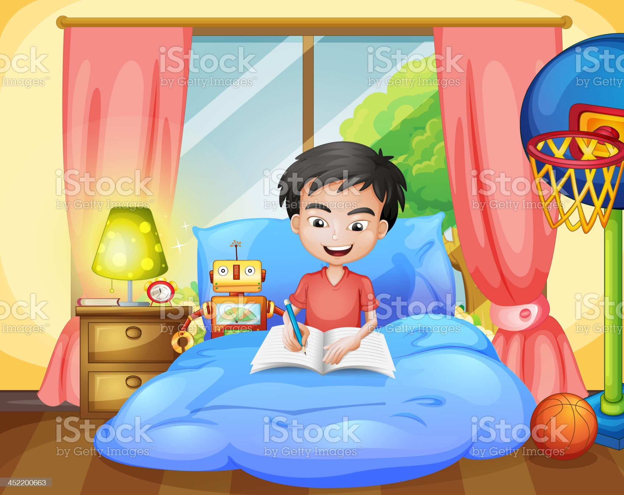 Boy writing on his bed royalty-free stock vector art