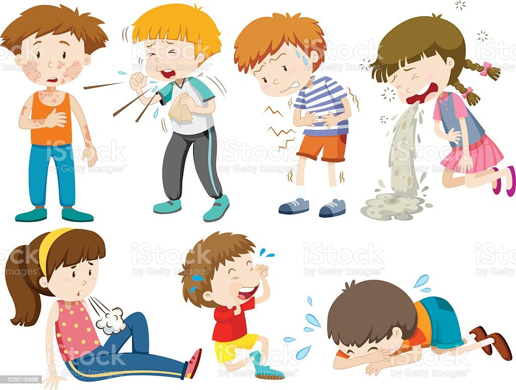 Boys and girls being sick vector art illustration