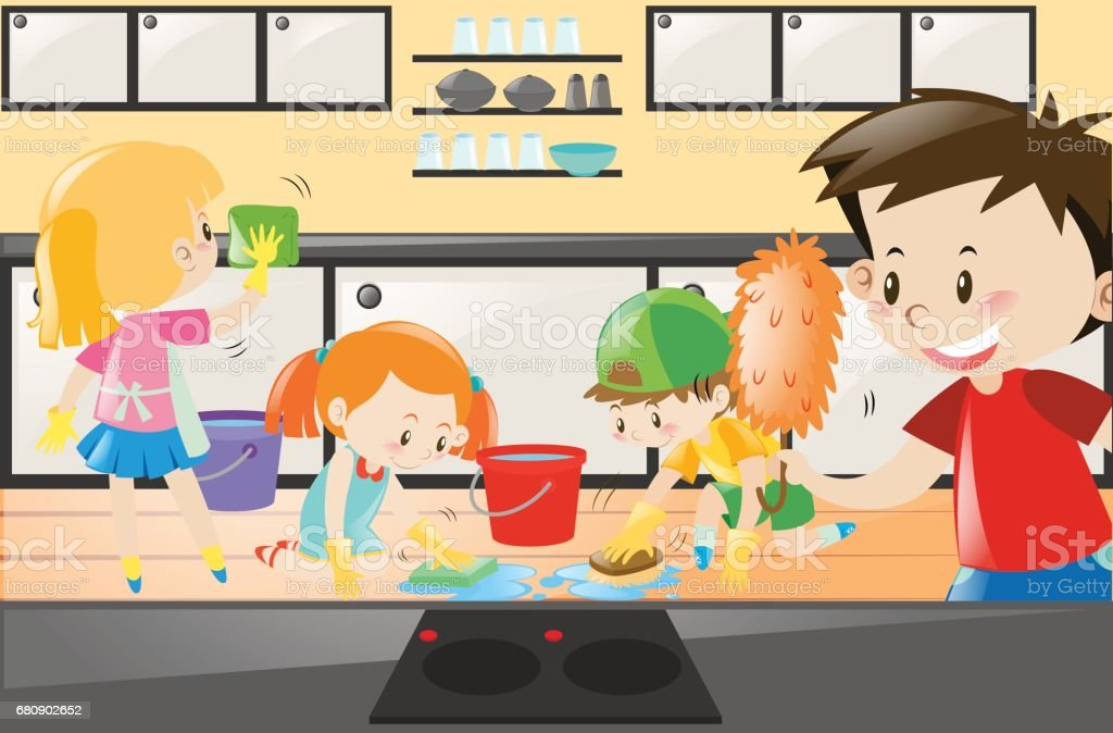 Boys And Girls Cleaning The Kitchen Royalty Free Stock Vector Art