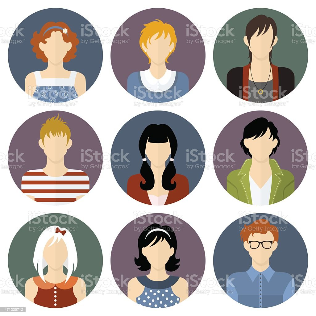 Boys and girls icons set in flat style vector art illustration