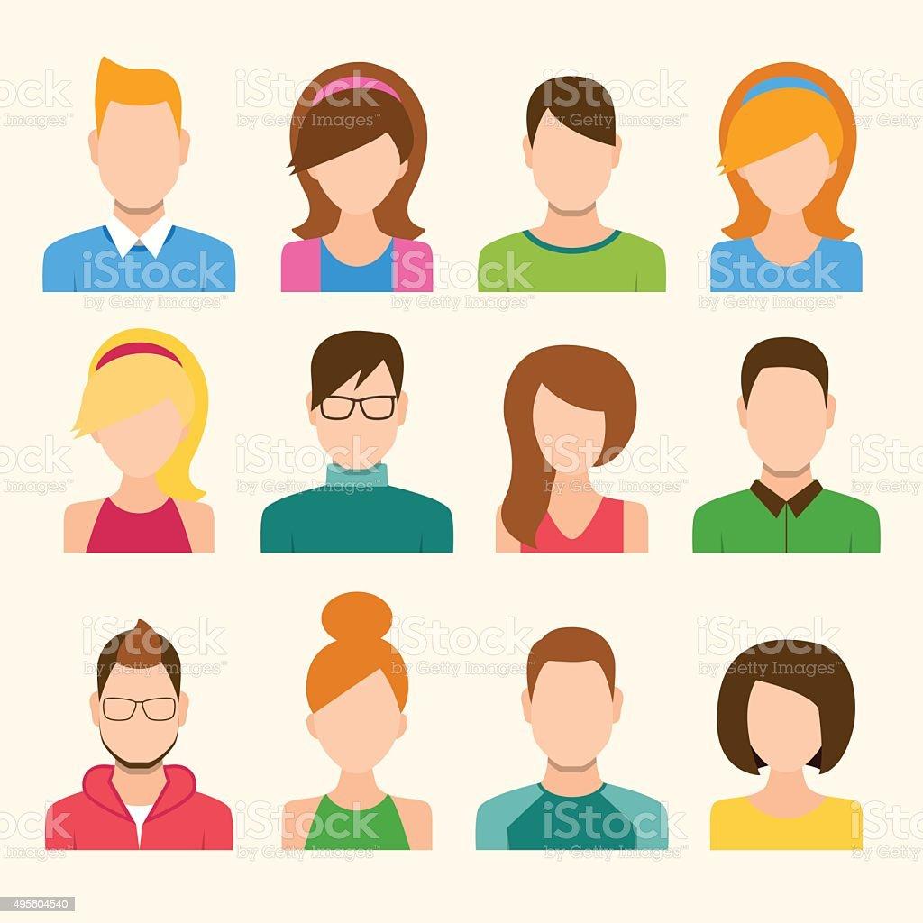 Boys And Girls Icons Set vector art illustration