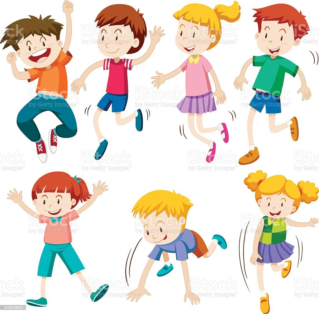Boys and girls in different actions vector art illustration