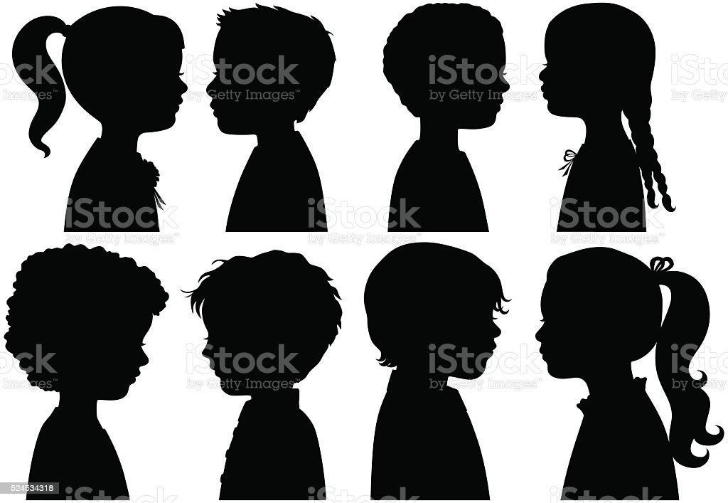 Boys and Girls in Silhouette vector art illustration