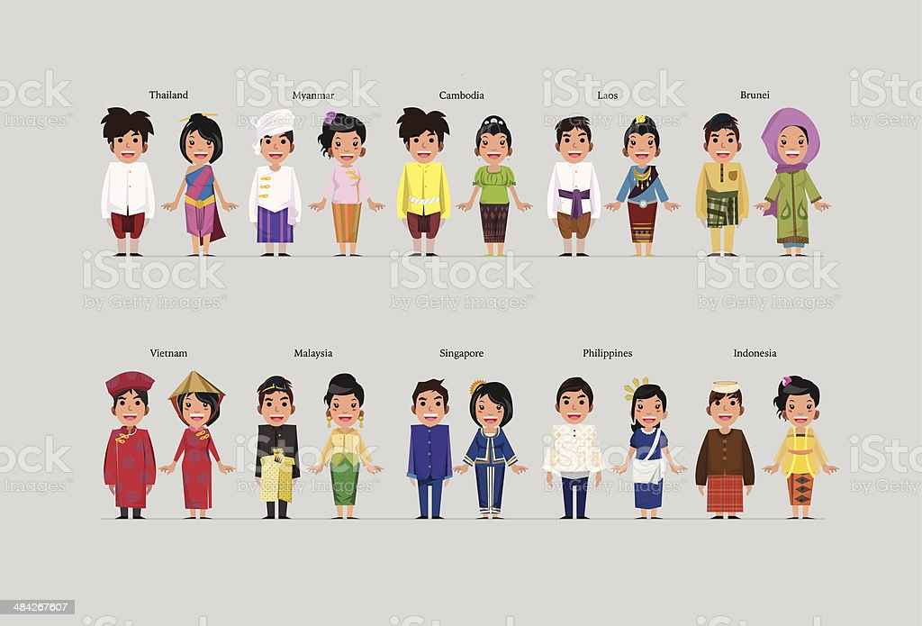 ASEAN boys and girls in traditional costume vector art illustration