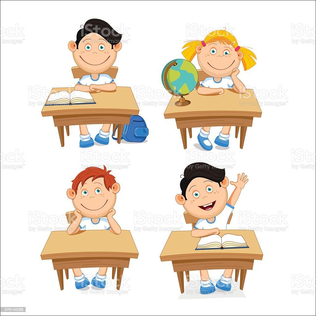 Boys and girls, schoolchildren, sitting at the table. vector art illustration
