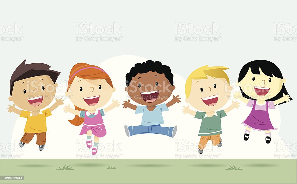 Boys and girls vector art illustration