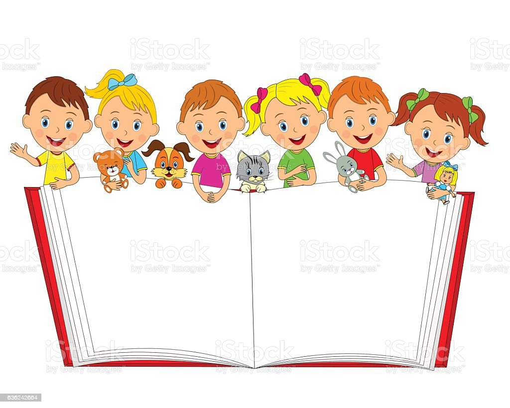 boys and girls with toys and book vector art illustration