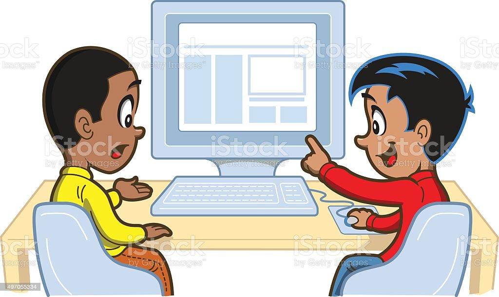 Boys At Computer vector art illustration