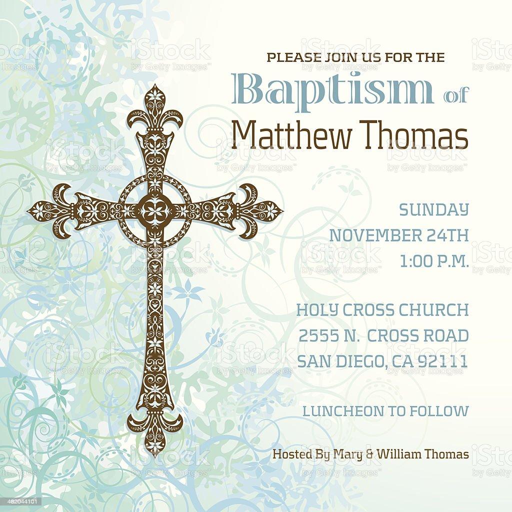 Boys Baptism Invitation vector art illustration