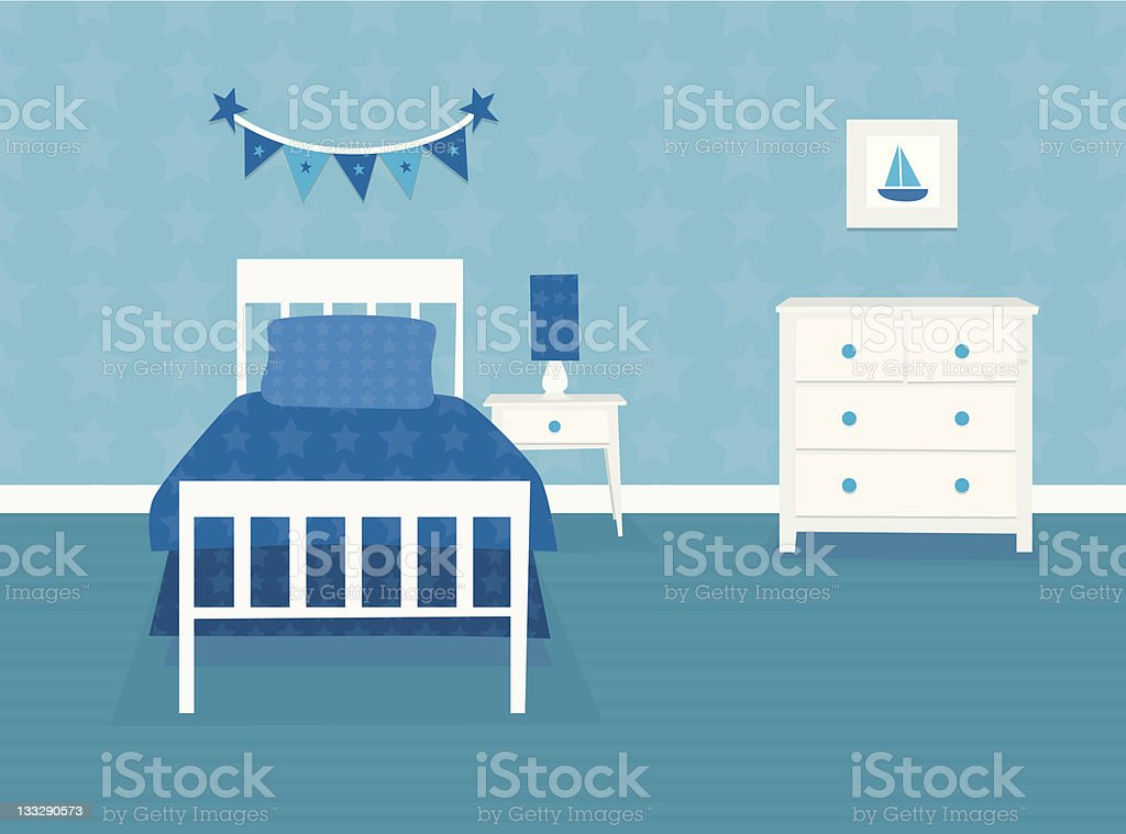 Boys bedroom vector art illustration