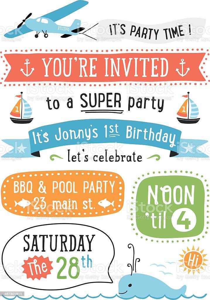 Boy's Birthday Party Invitation vector art illustration