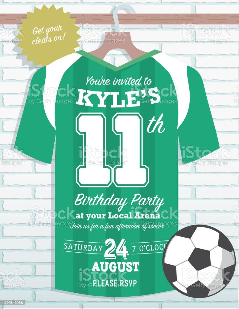 Boys Birthday party soccer jersey themed invitation design vector art illustration