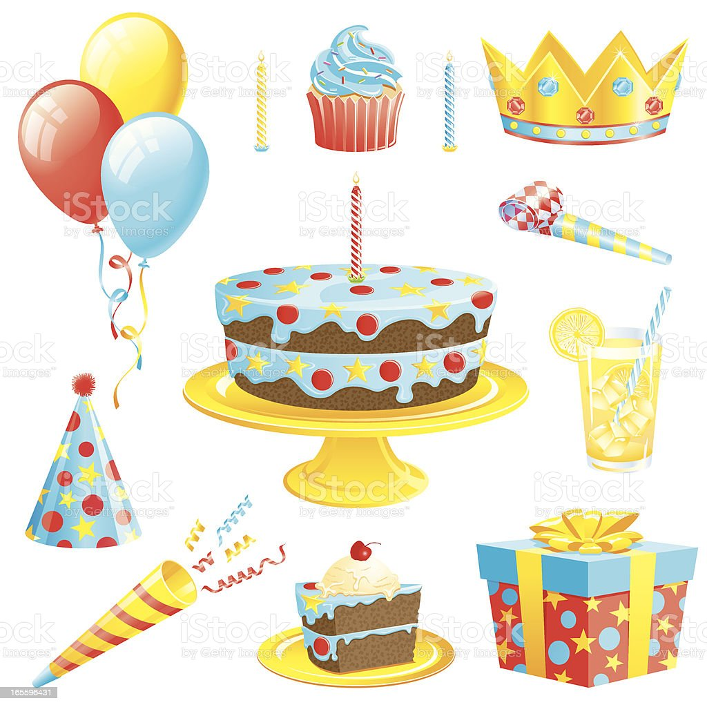 Boys Birthday Set vector art illustration
