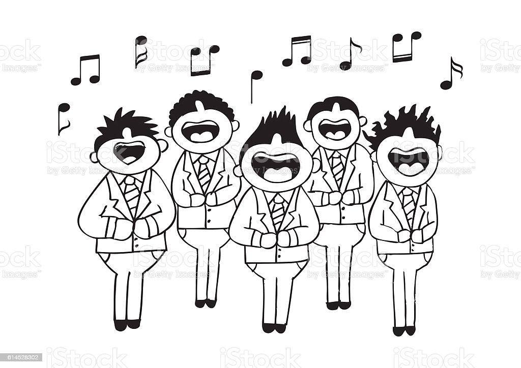Boys chorus in action. Hand drawing illustration. vector art illustration